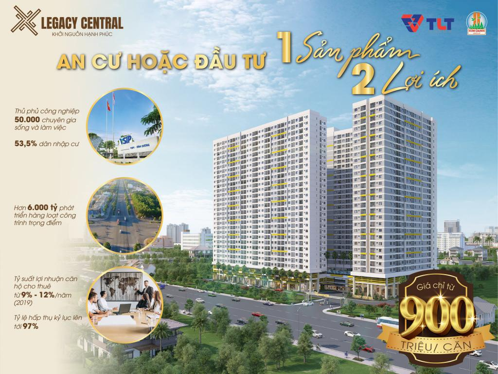 Căn hộ Legacy Central Thuận An Bình Dương giá chỉ 900 triệu