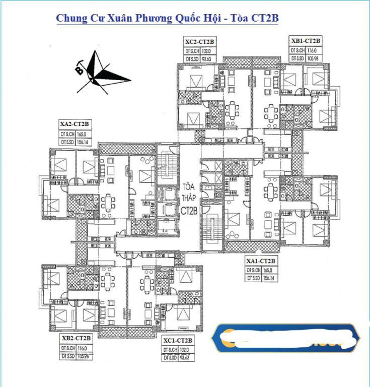 Chính chủ cần bán CHCCC Xuân Phương, Quốc Hội, tầng 8B2, DT 105.98m2 giá 21.5tr/m2:0981129026