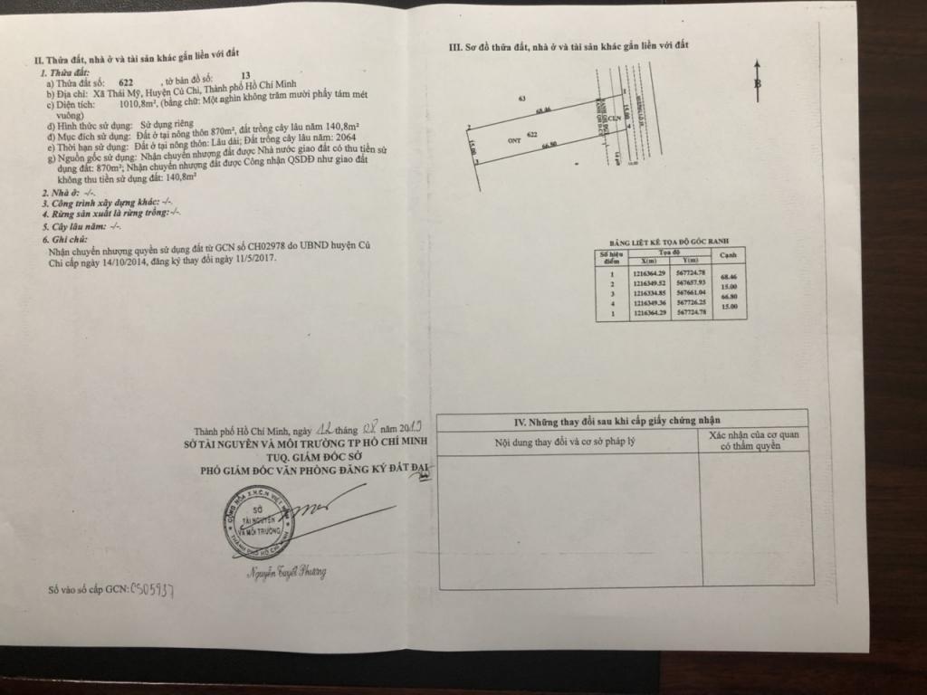 Bán đất SHR thổ cư 100% DT 1005m2 xã thái mỹ củ chi