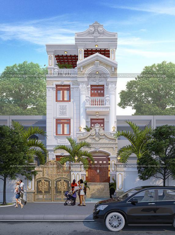 Mẫu thiết kế nhà phố tân cổ điển 7x20m