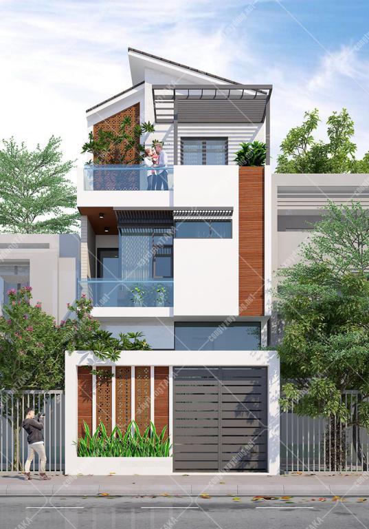 Mẫu thiết kế nhà phố ngang 6m dài 10m 1 trệt 2 lầu