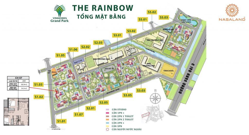 Căn hộ 59m2, 2pn1wc tòa S1.02 Vinhomes Grand Park, Nguyễn Xiển Quận 9