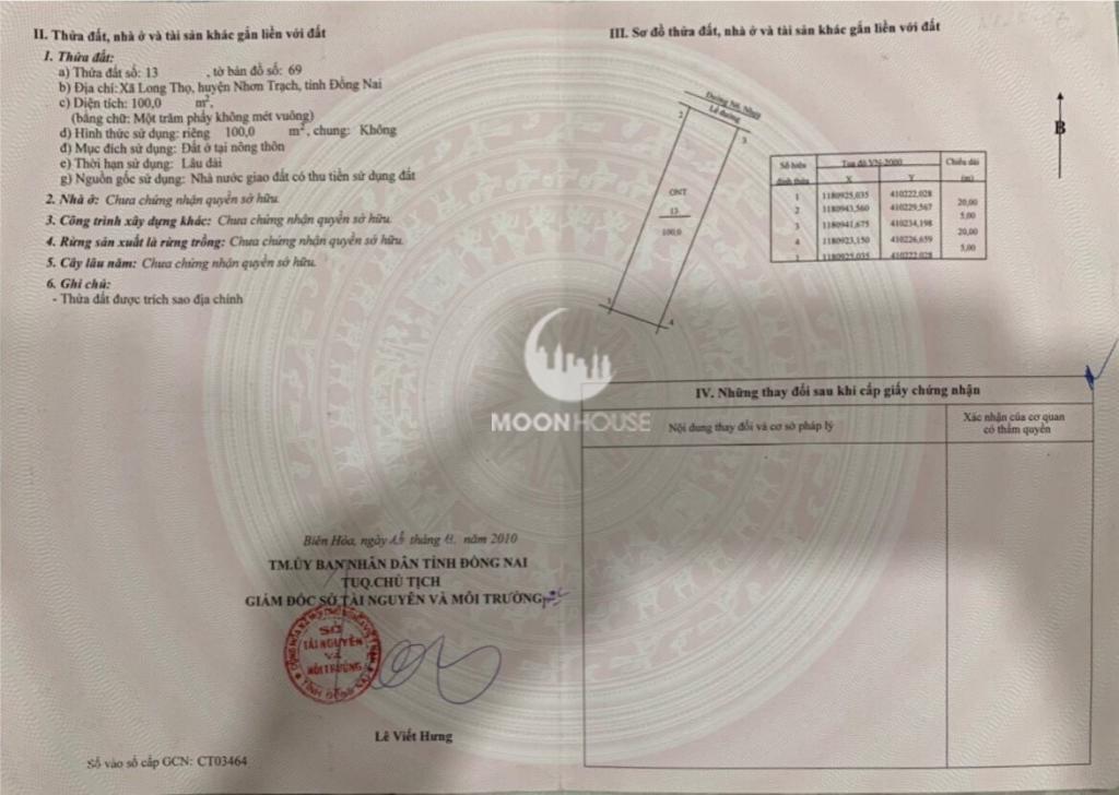 Bán đất , chính chủ , full Thổ , dự án XDHN , xã long thọ , huyện Nhơn Trạch