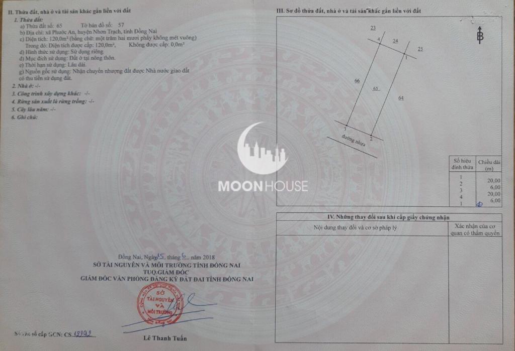 Bán đất diện tích: 120m2 , giá : 1.35tỷ , dự án Thành Hưng , sổ hồng , full thổ , chính chủ
